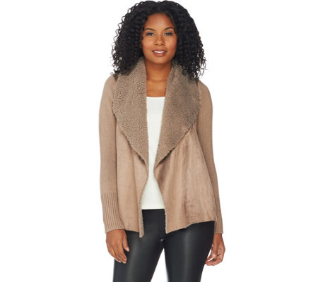 H by Halston Faux Shearling and Sweater Knit Open Front Cardigan