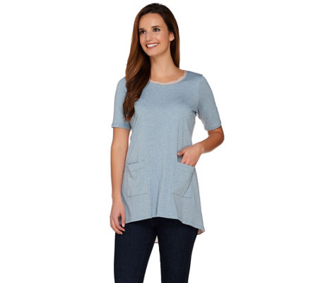 """As Is"" LOGO by Lori Goldstein Heather Knit Top with Challis Trim"