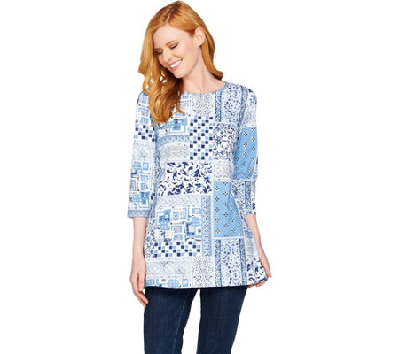 Denim & Co 3/4 Sleeve Patchwork Print Tunic Top with Side Slits