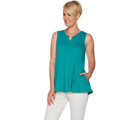 LOGO by Lori Goldstein Cotton Slub Knit V-Neck Swing Tank