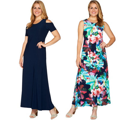 Attitudes By Renee Petite Solid Amp Printed Set Of 2 Dresses