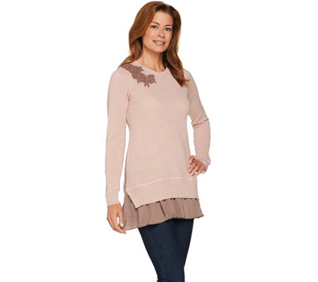 """As Is"" LOGO Lavish by Lori Goldstein Waffle Knit Sweater"