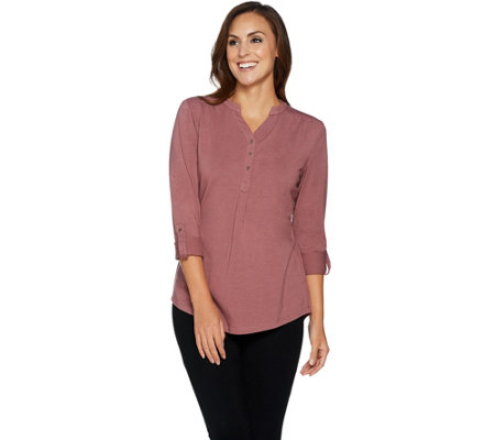 Denim & Co. Long Sleeve Y-Neckline Roll Tab Sleeve Henley Top