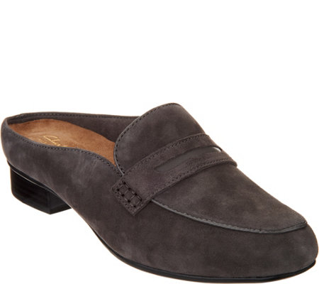 Clarks Artisan Suede Loafer Mules- Keesha Donna