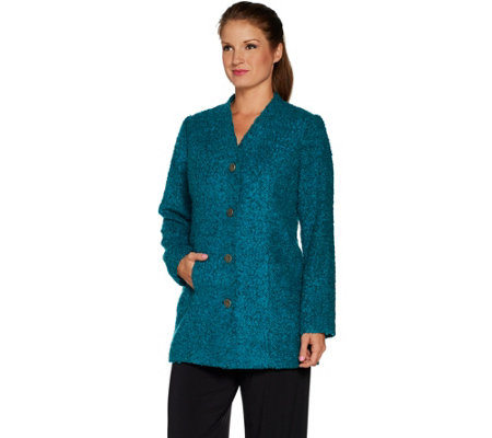 Susan Graver Boucle Button Front Duster