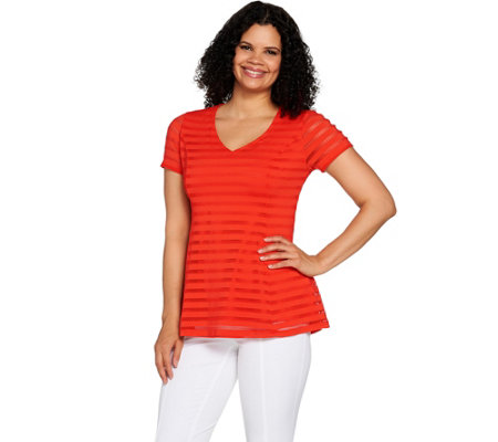 """As Is"" Isaac Mizrahi Live! Textured Stripe V-neck Short Sleeve Top"