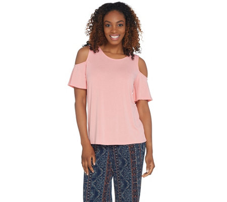 Kelly by Clinton Kelly Cold Shoulder Flutter Sleeve Knit Top