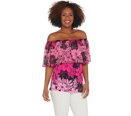 Susan Graver Printed Liquid Knit Top With Chiffon Overlay
