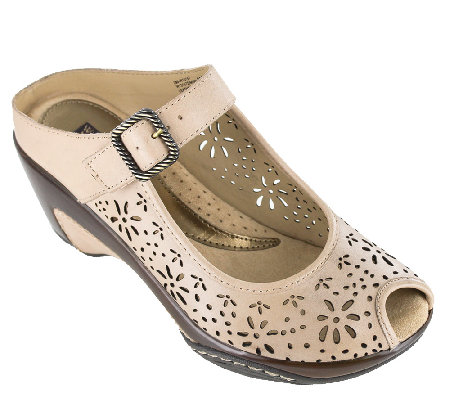 Heritage by White Mountain Perforated Leather Mules - Miso