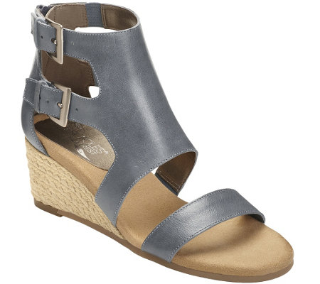 Aerosoles Heel Rest Leather Wedge Sandals - Cyberspace