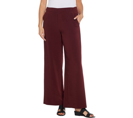 Dennis Basso Woven Pull-On Wide-Leg Pants