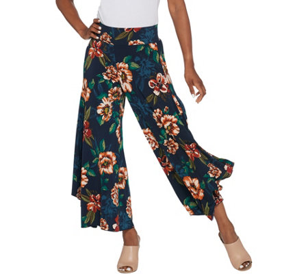 Du Jour Floral Printed Pull-On Wide Leg Knit Pants