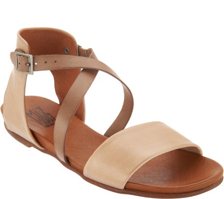 """As Is"" Miz Mooz Leather Cross Strap Sandals-Amanda"