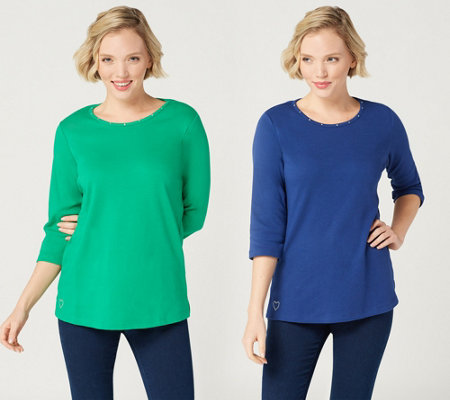 Quacker Factory Essentials Set of Two 3/4-Sleeve Knit Tops