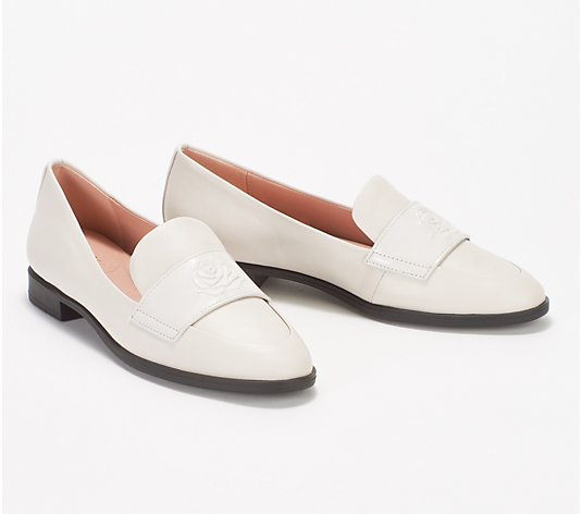 Taryn Rose Leather Heeled Loafers - Blossom