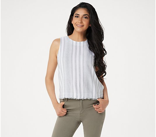 Side Stitch Sleeveless Striped Linen Blend Top with Button Detail