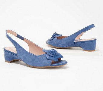 51c788d6425997 Taryn Rose Sling-Back Heeled Sandals with Rose Detail - Neva - A352303