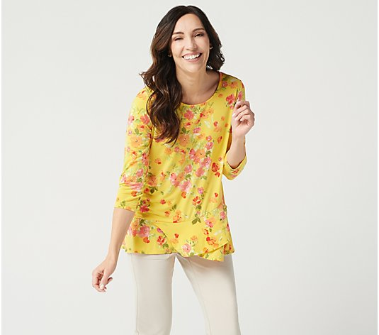 """As Is"" Susan Graver Printed Liquid Knit Top with Crossover Flounce Hem"