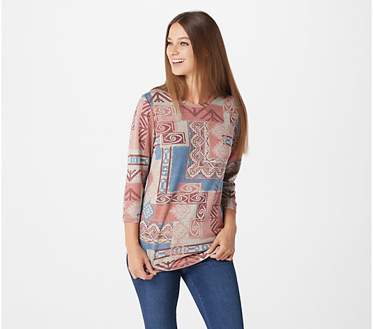 Denim & Co. Printed Heavenly Jersey Scoop Neck 3/4-Sleeve Top