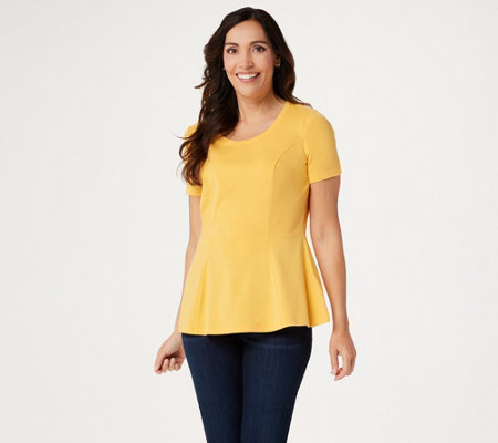 """As Is"" Isaac Mizahi Live! Short-Sleeve Seamed Peplum Knit Top"