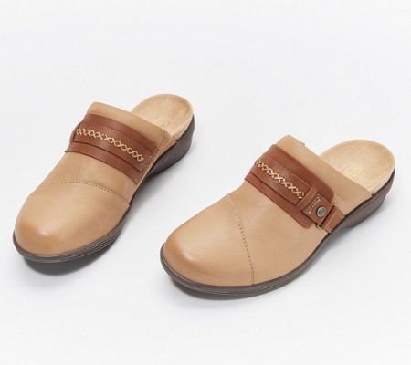 Spenco Orthotic Leather Clogs - Fox Hill