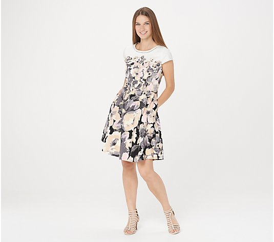 Isaac Mizrahi Live! Engineered Floral Print Woven Dress