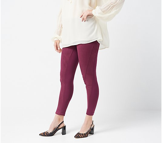 """As Is"" Women with Control Petite Control Faux Suede and Ponte Leggings"