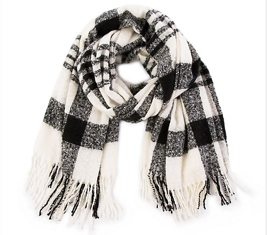 Glitzhome For Some Fashion Drama Mama Plaid Scarf with Fringe
