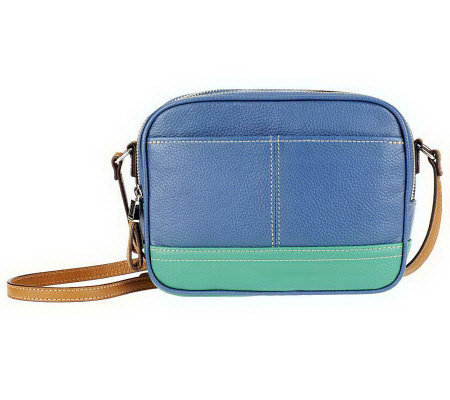 As Is Tignanello Pebble Leather Colorblock Crossbody Bag