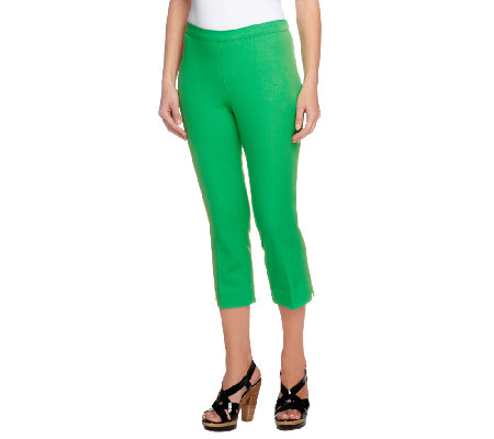 As Is Isaac Mizrahi Live 24 7 Stretch Regular Pull On Crop Pants