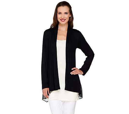 LOGO by Lori Goldstein Open Front Knit Cardigan with Chiffon Details