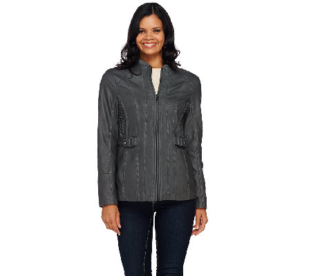 Susan Graver Faux Leather Zip Front Jacket