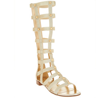 Marc Fisher Leather and Stretch Studded Gladiator Sandals - Lexxi