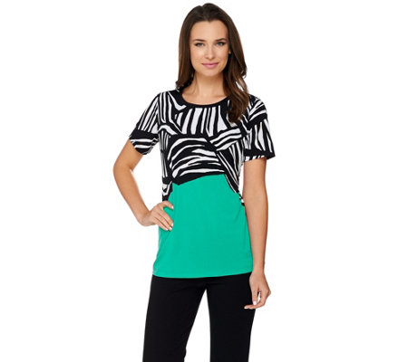 Susan Graver Printed Liquid Knit Short Sleeve Top
