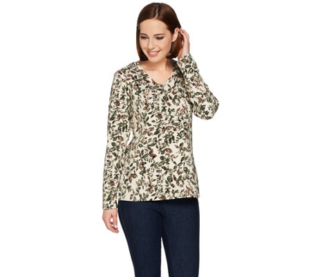 Denim & Co. Leaf Printed V-neck Long Sleeve Top