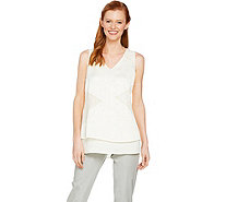 H by Halston Sleeveless Patchwork Lace Woven Top - A288604