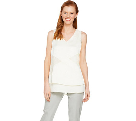 H by Halston Sleeveless Patchwork Lace Woven Top