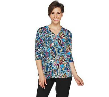 Susan Graver Printed Liquid Knit 3/4 Sleeve Tiered Top - A292304
