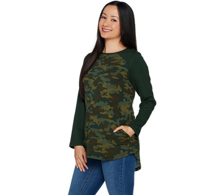 Denim & Co. Active French Terry Camo Tunic w/ High Low Hem