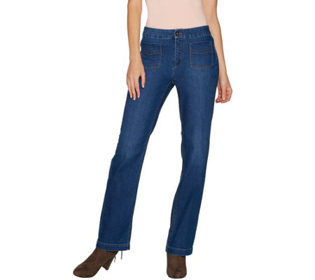 Susan Graver Petite Stretch Denim Straight Leg Jeans