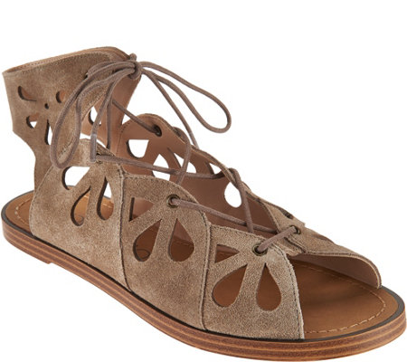 """As Is"" Sole Society Suede Lace-up Cut-out Sandals - Lylia"