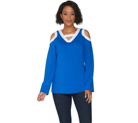 Belle by Kim Gravel TripleLuxe Knit Cold Shoulder Top