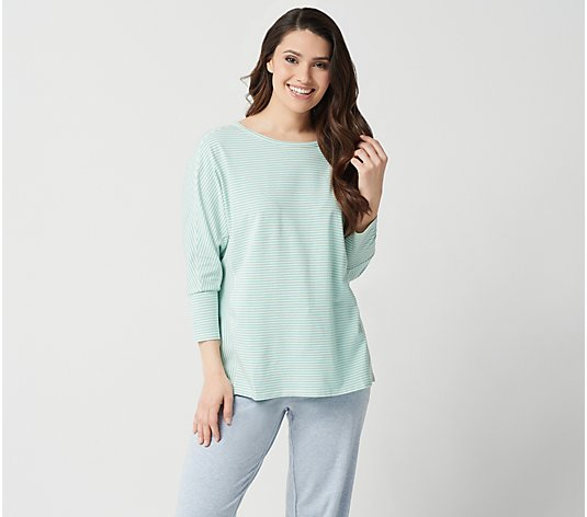 AnyBody Cozy Knit Striped Dolman Sleeve Top