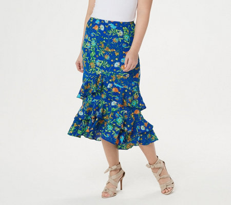 Linea by Louis Dell'Olio Wild Flower Pull On Ruffle Skirt