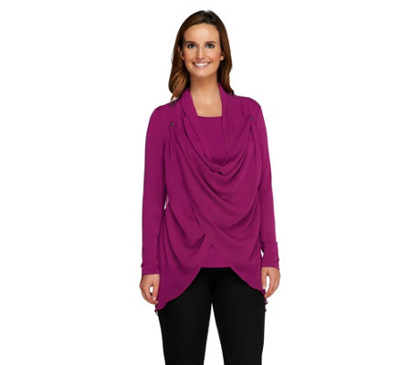 """As Is"" George Simonton Knit Top with Drape Front Chiffon Detail"