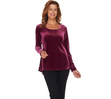 """As Is"" Isaac Mizrahi Live! Knit Velvet Peplum Back Tunic"