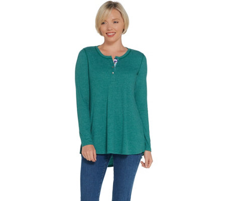 LOGO Lounge by Lori Goldstein Rib Henley Top with Printed Placket