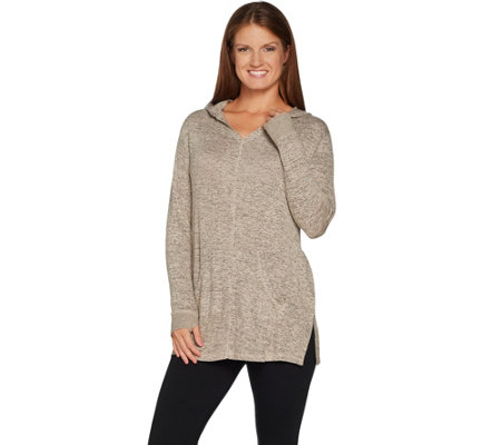 """As Is"" AnyBody Loungewear Brushed Hacci Hooded Side Slit Tunic"