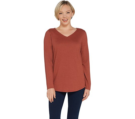 Belle by Kim Gravel Heathered VNeck Long Sleeve Top w/ Smile Hem