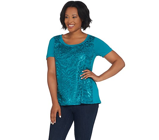 Bob Mackie Short-Sleeve Sequin Front Knit Top